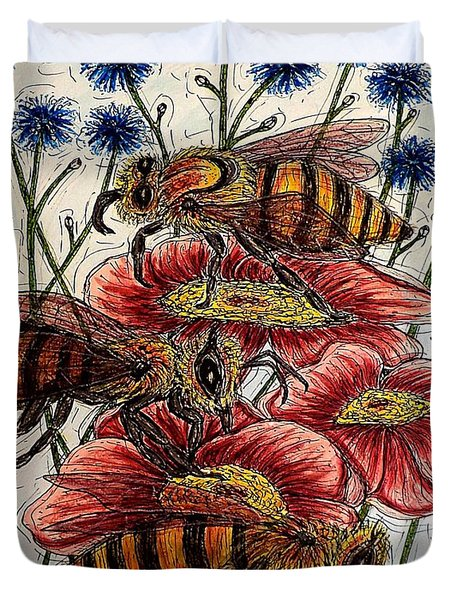 Three Busy Bees Duvet Cover