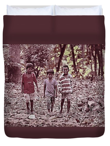 Three Campanions Duvet Cover by Arik S Mintorogo