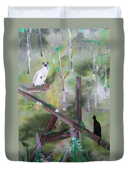 Three Cats In The Yard Duvet Cover