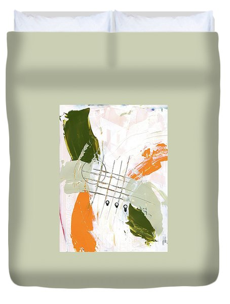 Duvet Cover featuring the painting Three Color Palette Orange 3 by Michal Mitak Mahgerefteh