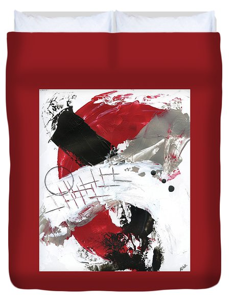 Duvet Cover featuring the painting Three Color Palette Red 2 by Michal Mitak Mahgerefteh
