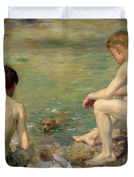 Three Companions Duvet Cover by Henry Scott Tuke