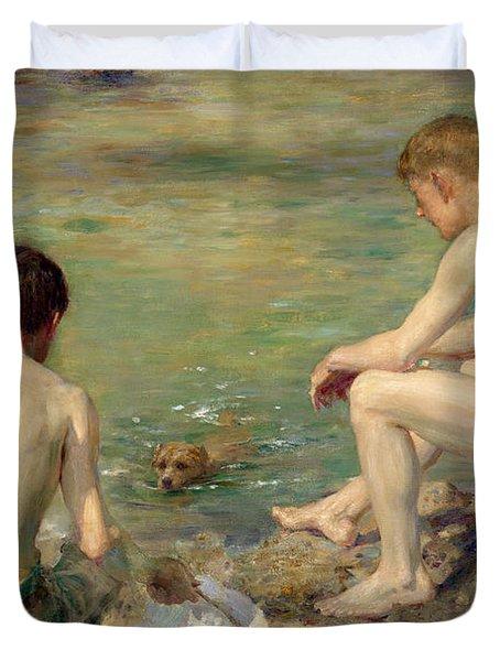Three Companions Duvet Cover by Henry Scott Tuke