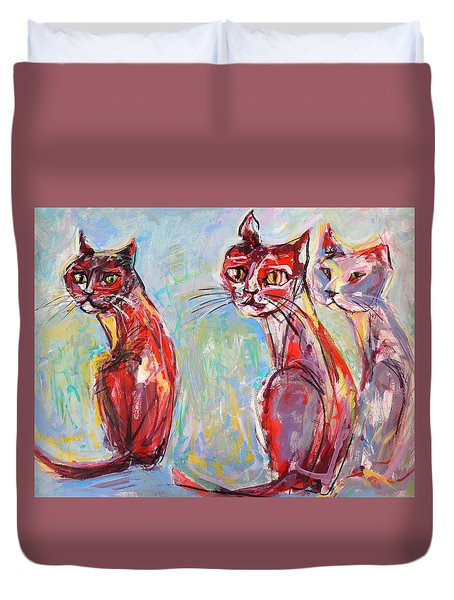Three Cool Cats Duvet Cover