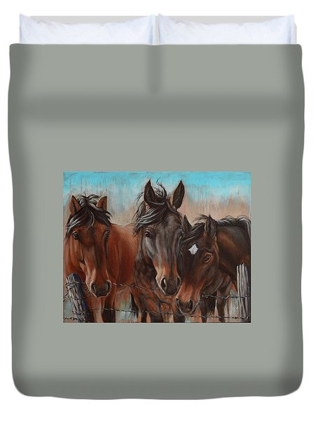 Three Curious Friends Duvet Cover