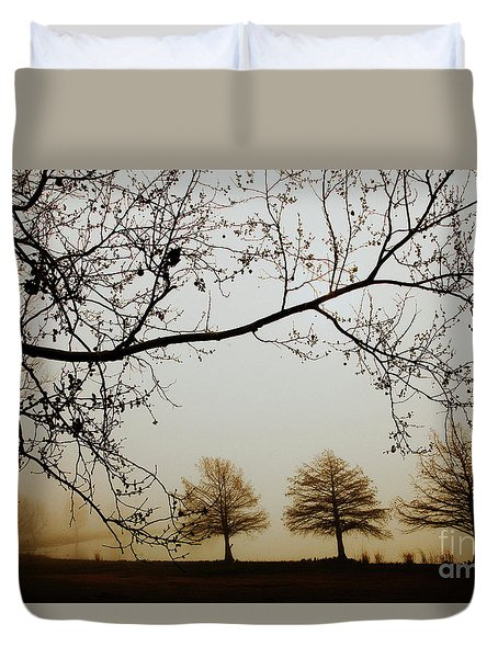 Duvet Cover featuring the photograph Three Cypress In The Mist by Iris Greenwell