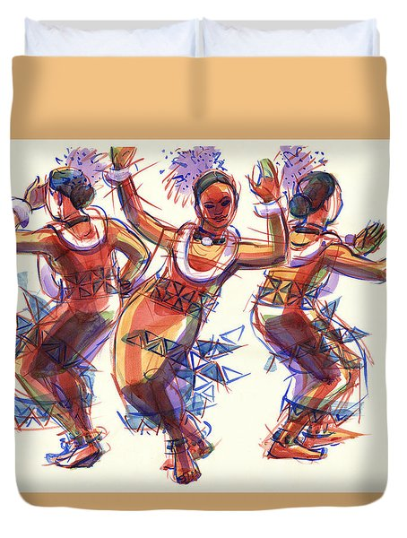 Duvet Cover featuring the painting Three Dancers Of Tongatapu by Judith Kunzle