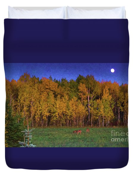 Three Deer And A Moon Duvet Cover