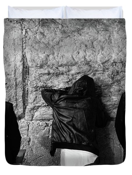 Duvet Cover featuring the photograph Three Different Selichot Prayers At The Kotel by Yoel Koskas
