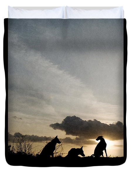 Three Dogs At Sunset Duvet Cover
