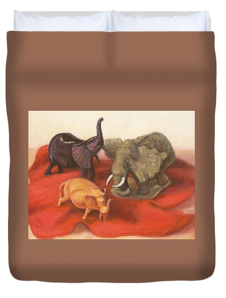 Duvet Cover featuring the painting Three Elephants by Donelli  DiMaria