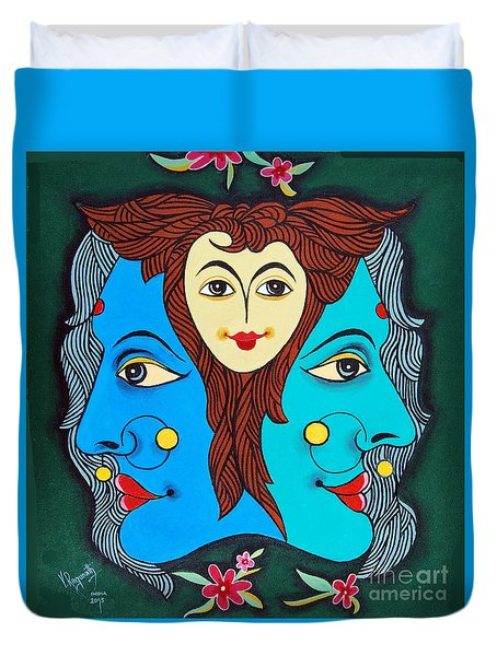 Duvet Cover featuring the painting Three Faces Of Smiling by Ragunath Venkatraman