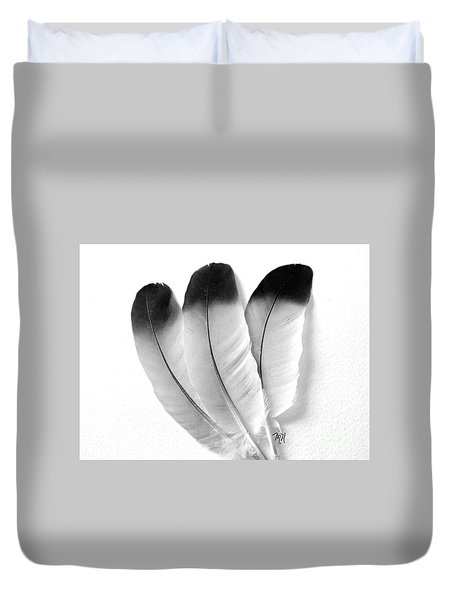 Three Feathers Duvet Cover by Marsha Heiken