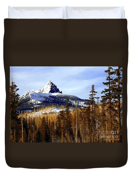 Three Fingered Jack Duvet Cover by Steve Warnstaff