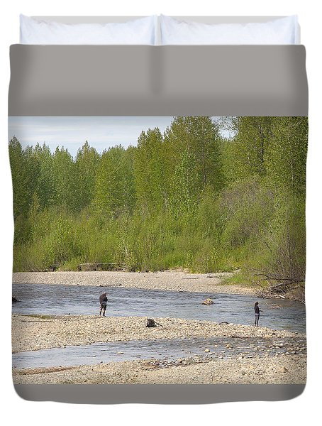 Three Friends Fishing For Salmon Duvet Cover by Allan Levin