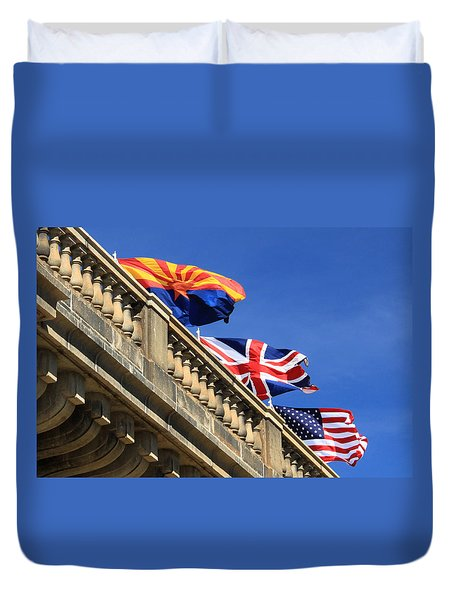 Three Flags At London Bridge Duvet Cover