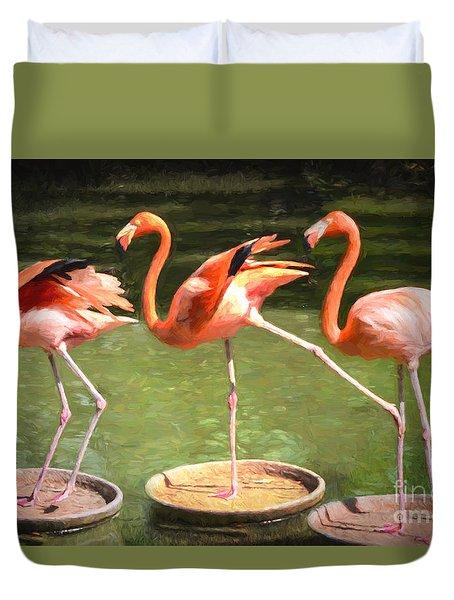 Three Flamingos Duvet Cover by Judy Wolinsky