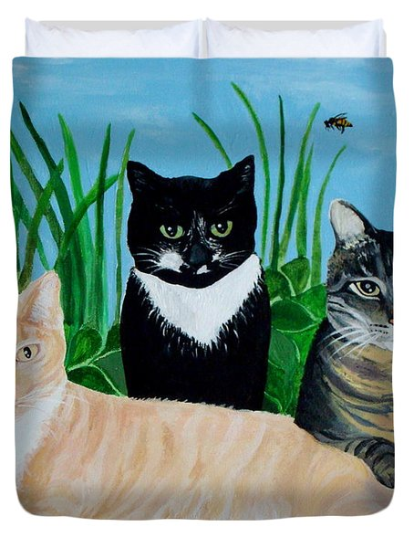 Three Furry Friends Duvet Cover