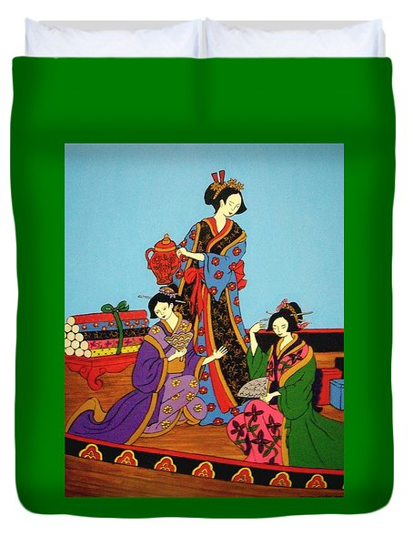 Three Geishas Duvet Cover by Stephanie Moore