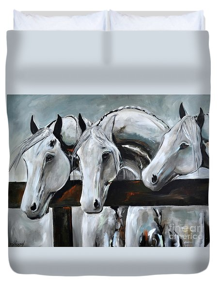 Duvet Cover featuring the painting Three Greys by Cher Devereaux