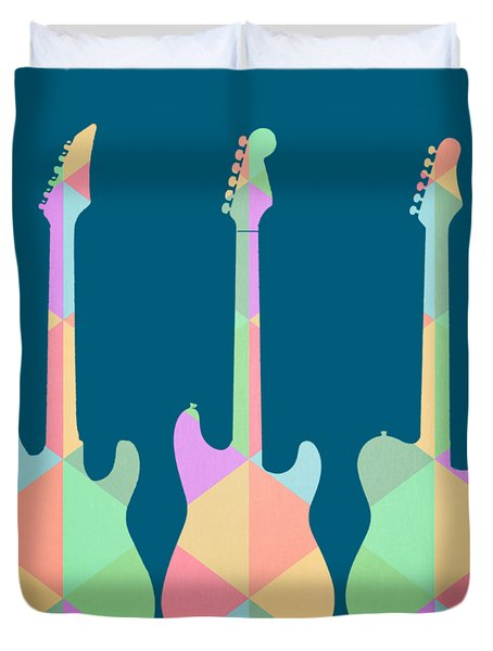 Three Guitars Triangles Tee Duvet Cover