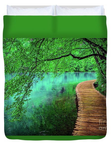 Tree Hanging Over Turquoise Lakes, Plitvice Lakes National Park, Croatia Duvet Cover