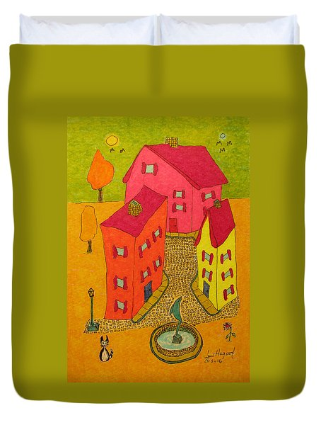 Three Homes With Sculpture Fountain Duvet Cover