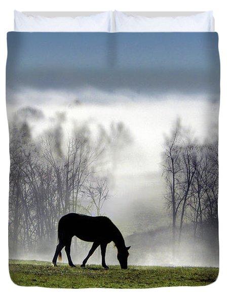 Three Horse Morning Duvet Cover
