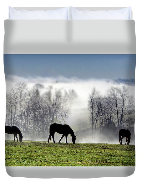 Three Horse Morning Duvet Cover