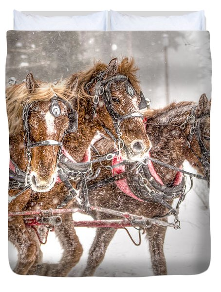 Three Horses - Color Duvet Cover