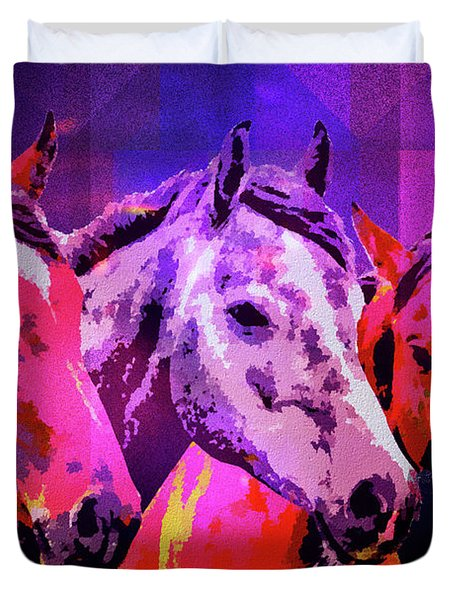 Three Horses Duvet Cover