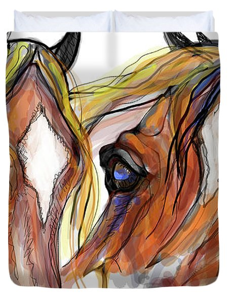 Three Horses Talking Duvet Cover by Stacey Mayer