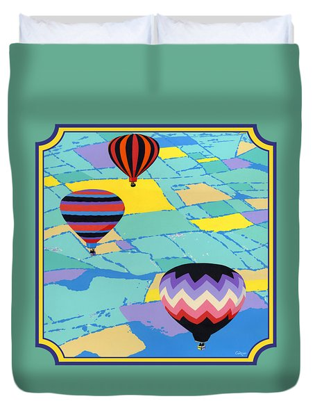 Three Hot Air Balloons Arial Absract Landscape - Square Format Duvet Cover