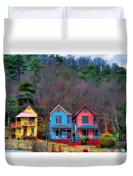 Duvet Cover featuring the photograph Three Houses Hot Springs Ar by Diana Mary Sharpton