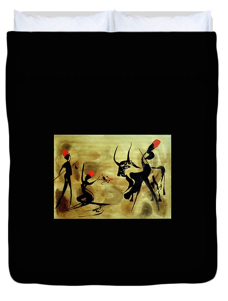 Three Hunters With Bull 2 Duvet Cover