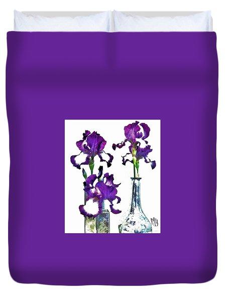 Three Irises In Vases Duvet Cover