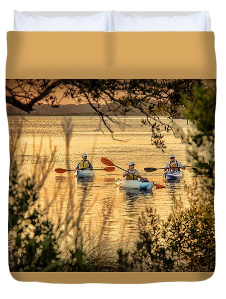 Three Kayaks Coming Home Duvet Cover
