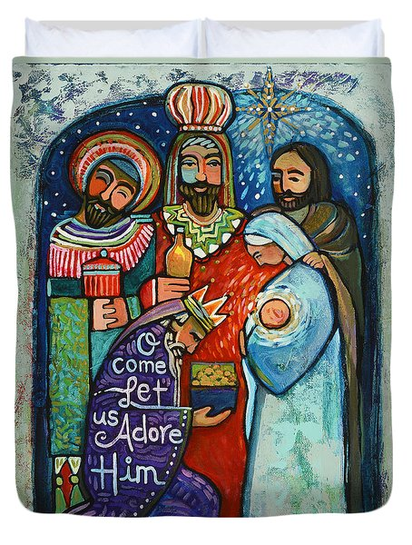 Three Kings O Come Let Us Adore Him Duvet Cover
