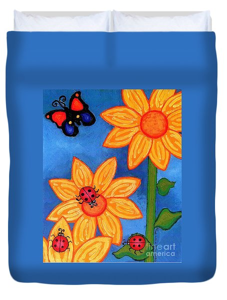 Three Ladybugs And Butterfly Duvet Cover by Genevieve Esson