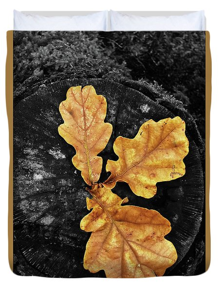 Three Leaves On Black Duvet Cover