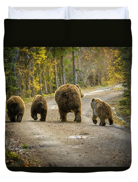 Three Little Bears And Mama Duvet Cover
