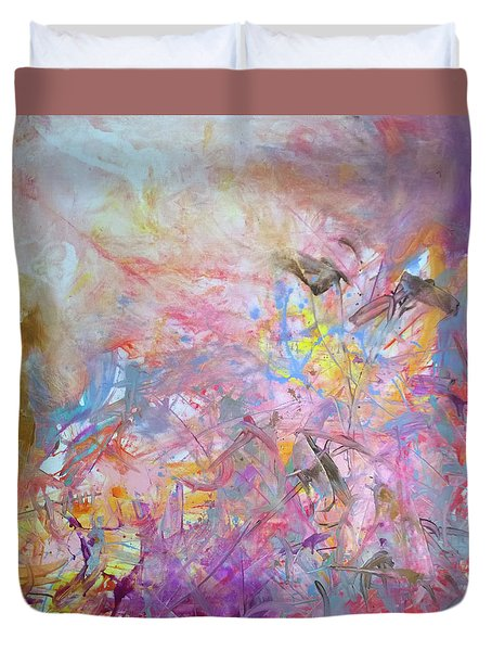 Duvet Cover featuring the painting Three Little Birds by Robert Anderson