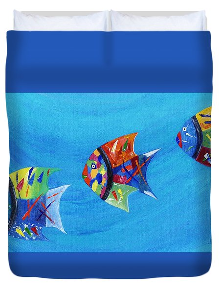 Duvet Cover featuring the painting Three Little Fishy's by Jamie Frier