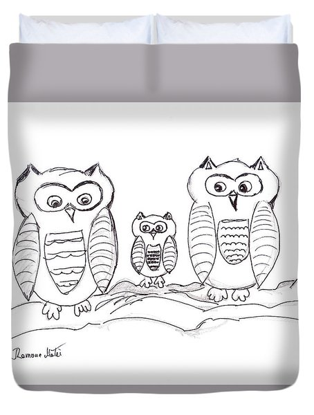Three Little Owls Duvet Cover by Ramona Matei