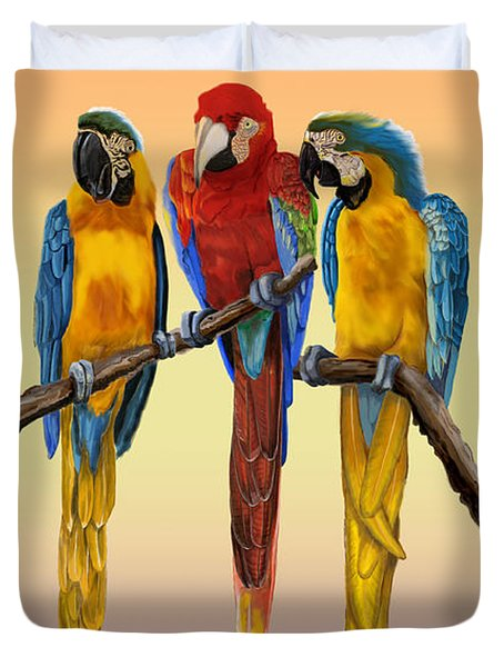 Three Macaws Hanging Out Duvet Cover
