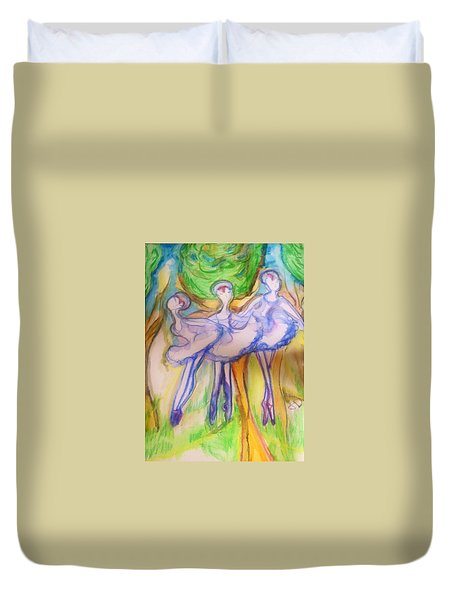 Three Magical Birds Duvet Cover by Judith Desrosiers