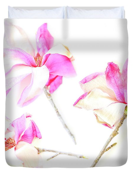Three Magnolia Flowers Duvet Cover