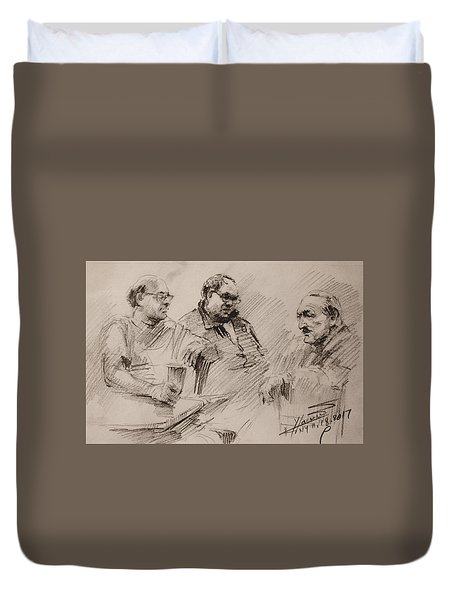 Three Men Chatting Duvet Cover