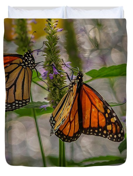 Three Monarch Butterfly Duvet Cover