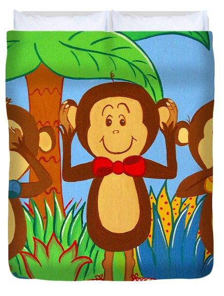 Three Monkeys No Evil Duvet Cover